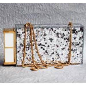 Tom Ford Glittered Plexiglass lipstick box clutch